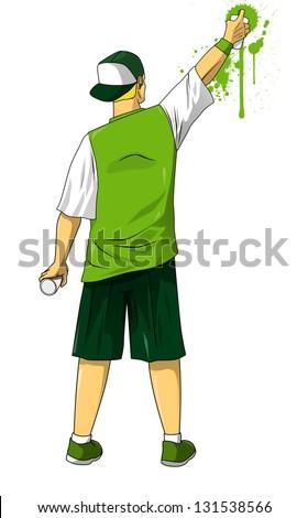 Cartoon illustration of male figure drawing graffiti using spraying can