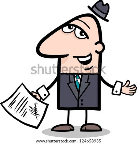 Cartoon Illustration of Man or Businessman with Signed Agreement or Contract
