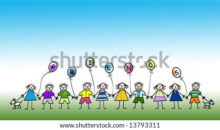 stock photo : Cartoon illustration of multi kids holding hands