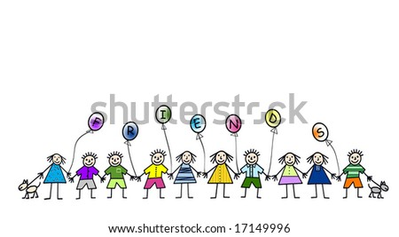 people holding hands cartoon. stock photo : Cartoon