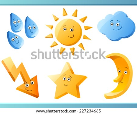 Stock Photo Cartoon Illustration of Nature or Weather Forecast Design Elements