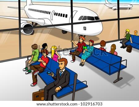 Cartoon illustration of people Airport Cartoon Images