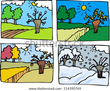 Cartoon Illustration of Rural Landscape in Four Seasons: Spring, Summer, Autumn or Fall and Winter