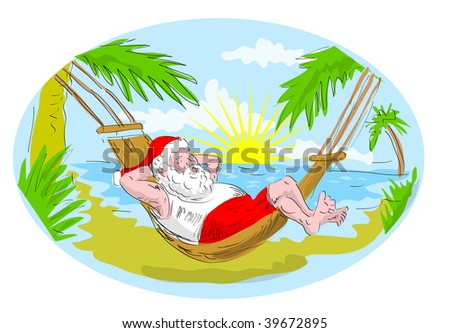 cartoon illustration of santa claus in hammock relaxing in tropical beach