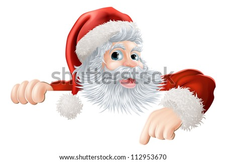 Cartoon illustration of Santa Claus pointing down at Christmas message or sign