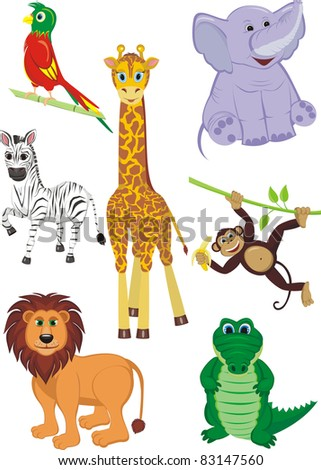 Cartoon illustration of seven cute safari animals - Giraffe, Crocodile, Zebra, Elephant, Parrot, Lion and Monkey - stock photo
