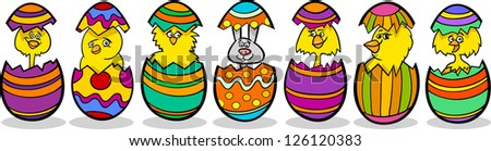 Cartoon Illustration of Six Little Yellow Chickens or Chicks and one Easter Bunny in Colorful Eggshells of Easter Eggs