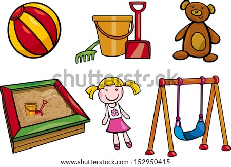 Cartoon Illustration of Toys Objects for Children Clip Arts Set - stock photo