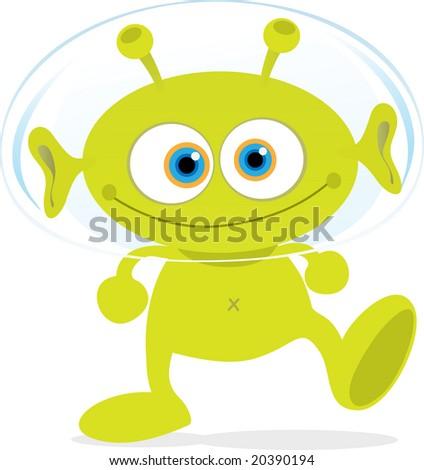 Cartoon Illustration of Walking Green Alien