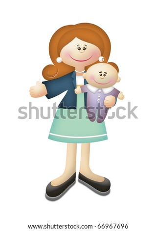 Cartoon illustration of working mother carrying baby.