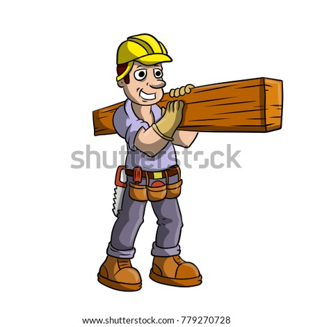 Cartoon illustration - profession. Worker carpenter joiner. Mucina with a helmet and tools carries on the shoulder huge timber logs. Builder.