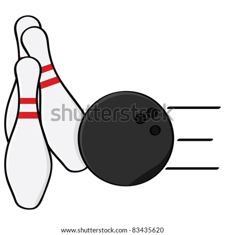 Cartoon illustration showing a bowling ball hitting some pins