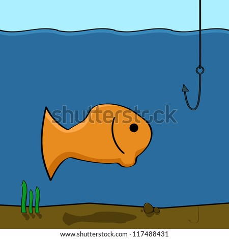 Cartoon illustration showing a fish in the water looking at a fishing hook