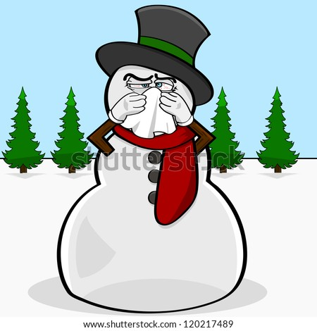 Cartoon illustration showing a snowman blowing his nose with a handkerchief - stock photo