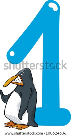 cartoon illustration with number one and penguin