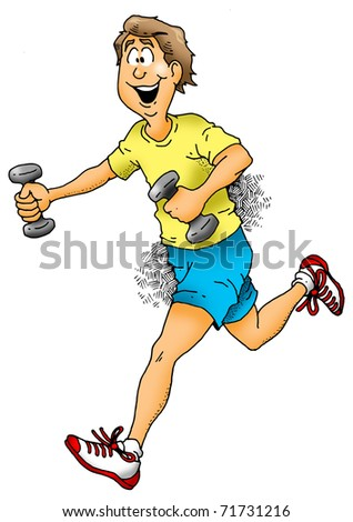 Cartoon image of a man jogging with dumbbells.