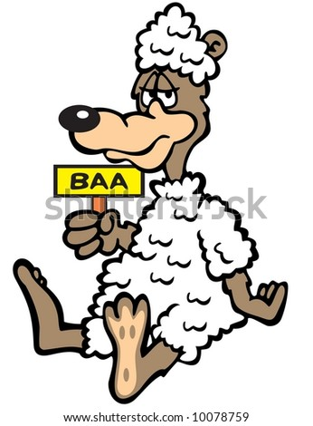 """cartoon image of wolf in sheep's clothing with a sign that says, """"Baa"""""""