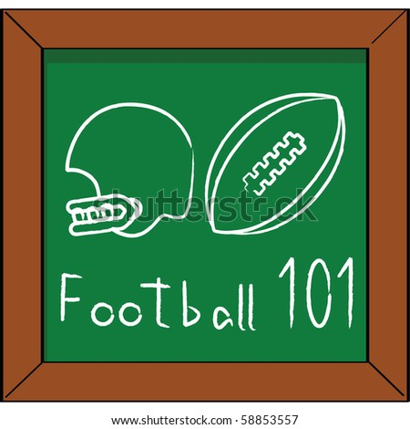 Cartoon jpeg illustration of a blackboard with a helmet and football chalk drawing