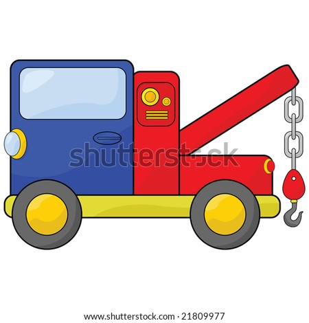 Cartoon jpeg illustration of a blue and red tow truck