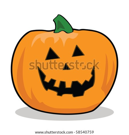 Cartoon jpeg illustration of a carved pumpkin for Halloween