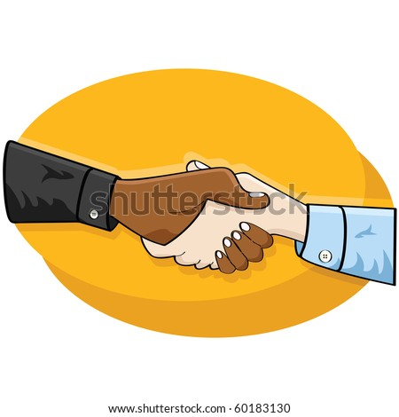 Cartoon jpeg illustration of a handshake between two business people
