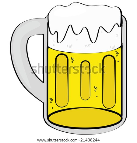 Cartoon jpeg illustration of a mug filled with beer - stock photo