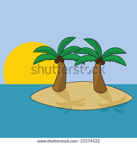 Cartoon Palm Tree Island Island With Two Palm Trees