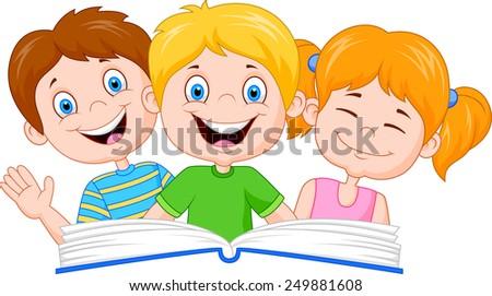 Books Cartoon Photos Cartoon Kids Reading Book