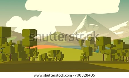 Cartoon landscape. Rural area. Countryside. Hills and fields.