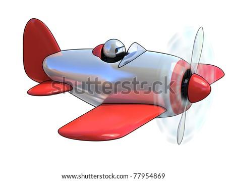 cartoon like airplane 3d illustration isolated on white background