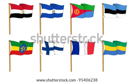 cartoon-like drawings of some of the most popular flags in the world: letter E, F & G