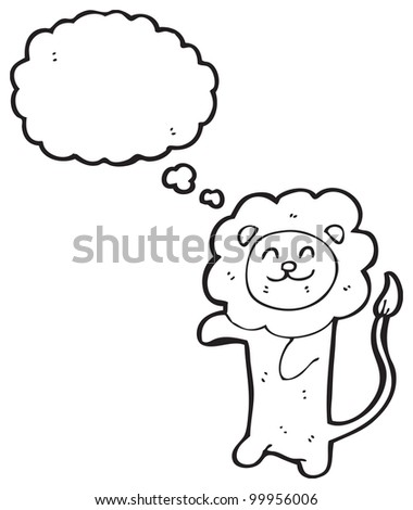 cartoon lion with thought bubble - stock photo