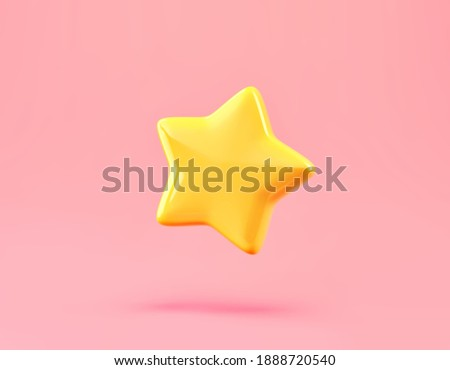 Cartoon lucky star isolated on pink background. 3D rendering with clipping path