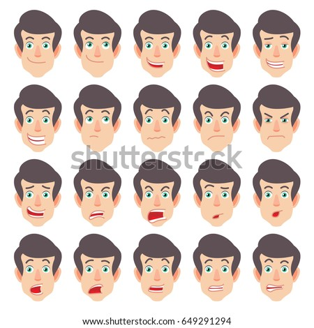 Cartoon Man Character in red t-shirt. Different facial expressions. Emotional set for rigging and animation. Raster illustration in a flat style.