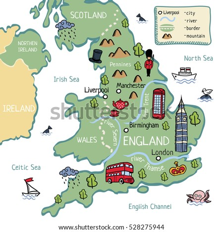 Map Of England For Kids.Royalty Free Cartoon Vector Doodle Map Of England 302848406 Stock