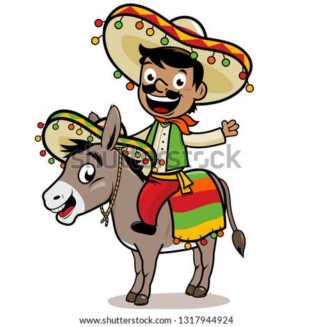 Cartoon Mexican man wearing a traditional costume and sombrero, riding a donkey