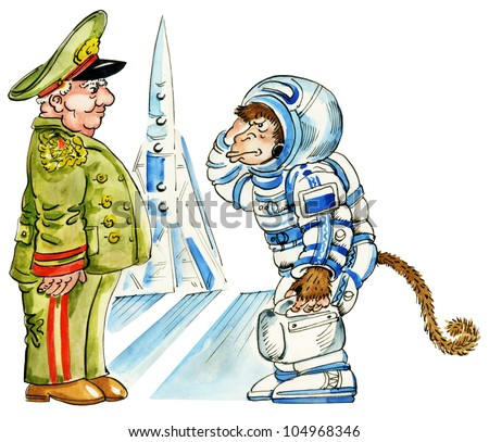 Cartoon Monkey Astronaut In A Space Suit By A Rocket Stock ...