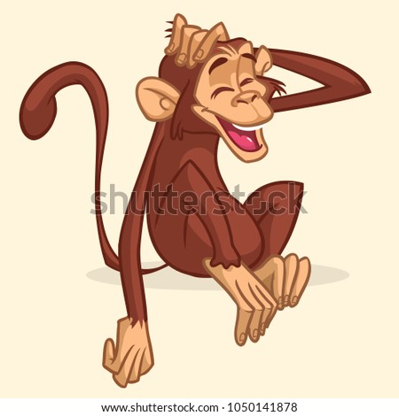Cartoon monkey sitting. Colorful  illustration of chimpanzee stretching his head and smiling with eyes closed.