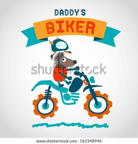 Cartoon Motocross Rider. Cute Animal. Hand Drawn Illustration.