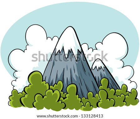 Cartoon mountains rise from a green forest.