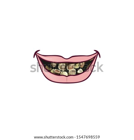 Cartoon mouth with teeth. Animated elements of the mouth of a dynamic cartoon character to show emotions and expressions of characters, surprises, surprises