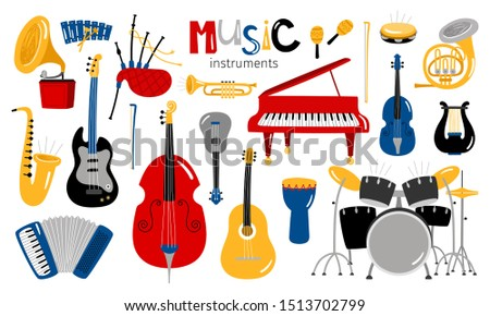 Cartoon musical instruments. Music instrument icons, entertainment instrumentation collection isolated on white background