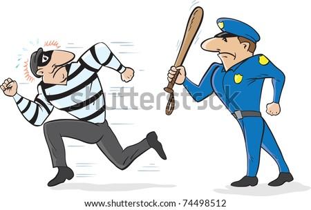 Cartoon of a policeman scaring away a burglar