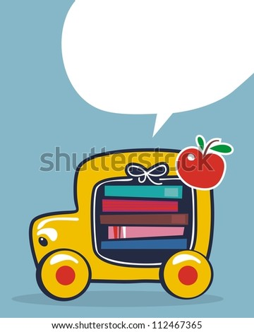 Cartoon of a school bus, with speech balloon