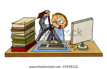 Cartoon of an office worker cynically making fun of his situation by pretending to strangle himself with his cravat