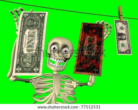 Cartoon of body skeleton with dollar bills. Theme of money laundering. - stock photo