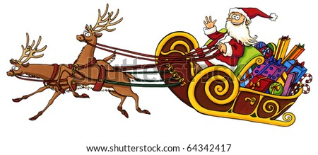 Cartoon of Santa Claus riding in a sleigh pulled by reindeer. This artwork was created manually with ink and markers on illustration board.