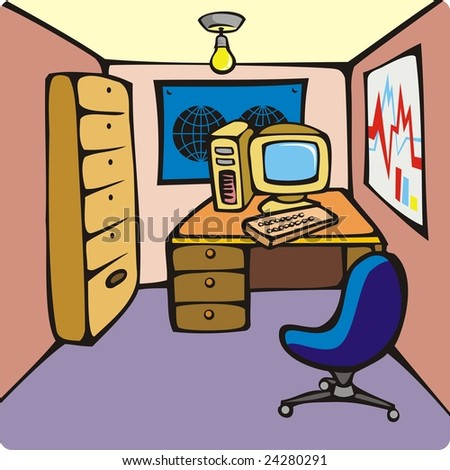 Computer Chairs on Personal Computer  Map  Cabinet And Chair  Illustration   Stock Photo