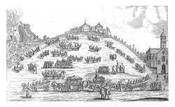 Cartoon on the Protestants, 1657. Field with chariots of all kinds of Protestants and sinful concepts that have left the church and are driving across the broad road to hell, vintage engraving.