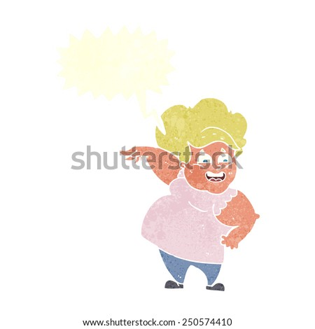 cartoon overweight woman with speech bubble